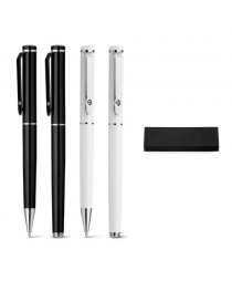 CALIOPE SET. Set con penna roller e penna a sfera in metallo - Nero