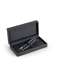 CHESS. Set con penna roller e penna a sfera in metallo e fibra di carbonio - Nero