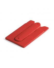 CARVER. Porta tessere con supporto per cellulare - Rosso