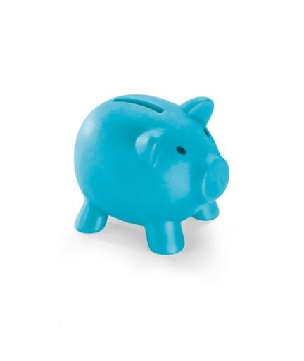 PIGGY. Salvadanaio in PVC - Azzurro